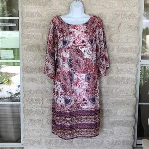 Neiman Marcus dress floral paisley pink white 10